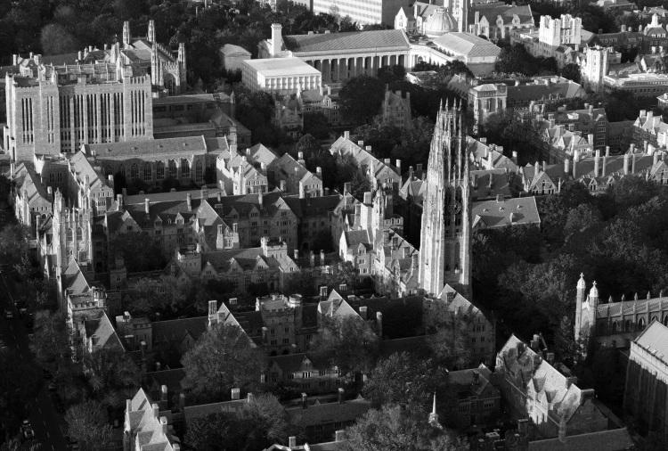 Yale campus bw